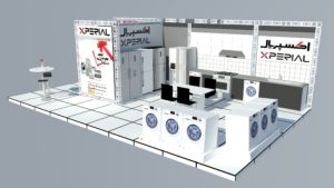 Initial design of the Experial exhibition booth with MDF material